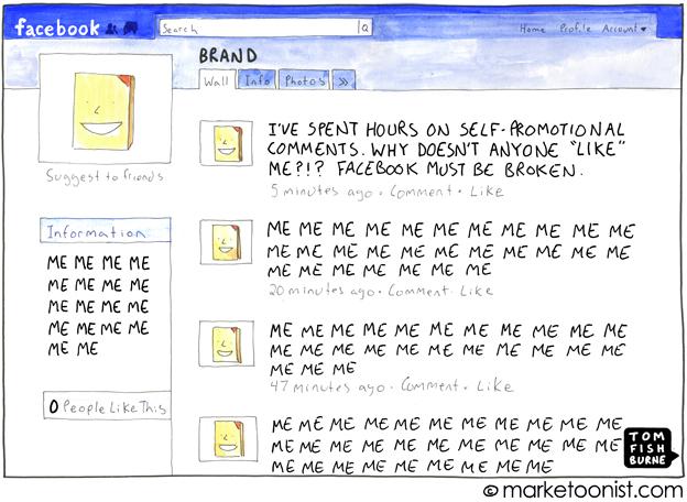 Зацикленность брендов в Facebook на самих себе. Иллюстрация Тома Фишборна